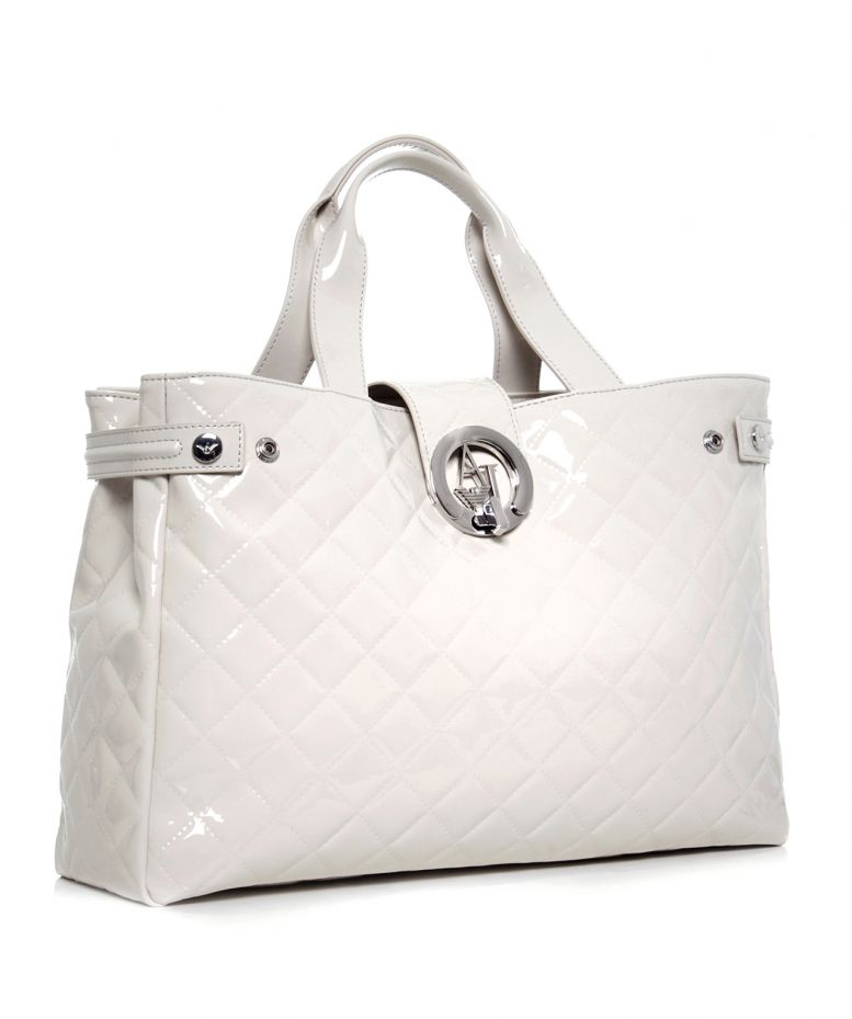 armani jeans quilted patent shopper bag available at jules b. Black Bedroom Furniture Sets. Home Design Ideas