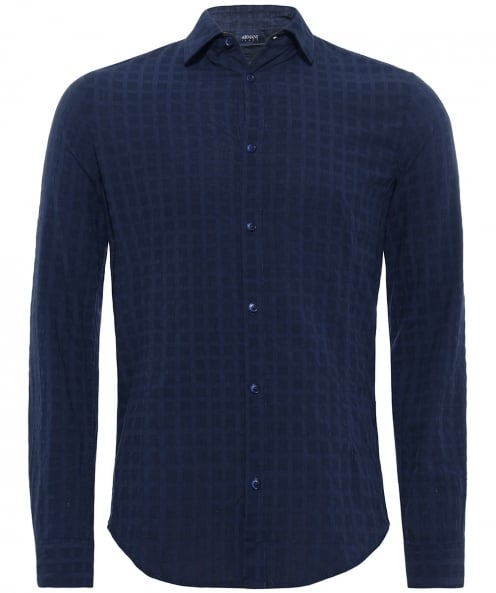 Armani Jeans Slim Fit Crinkle Textured Shirt