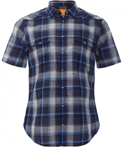 BOSS Orange Slim Fit Short Sleeve Erodeo Check Shirt
