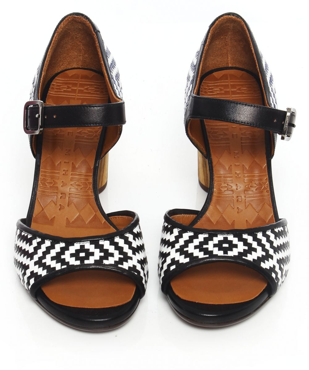 chie mihara black heyou woven sandals available at jules b. Black Bedroom Furniture Sets. Home Design Ideas