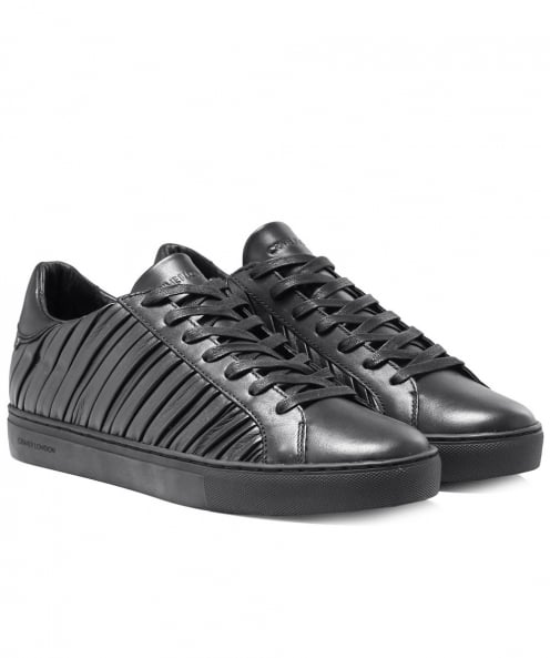 Crime London Pleated Leather Beat Trainers