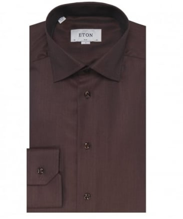 Slim Fit Herringbone Cambridge Twill Shirt