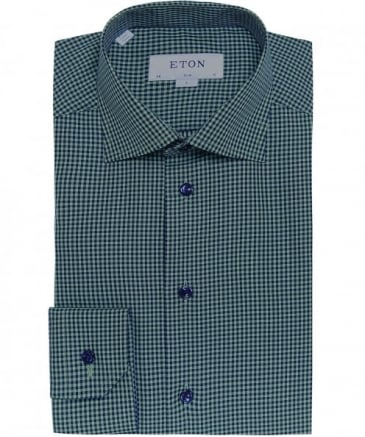 Slim Fit Micro Check Shirt