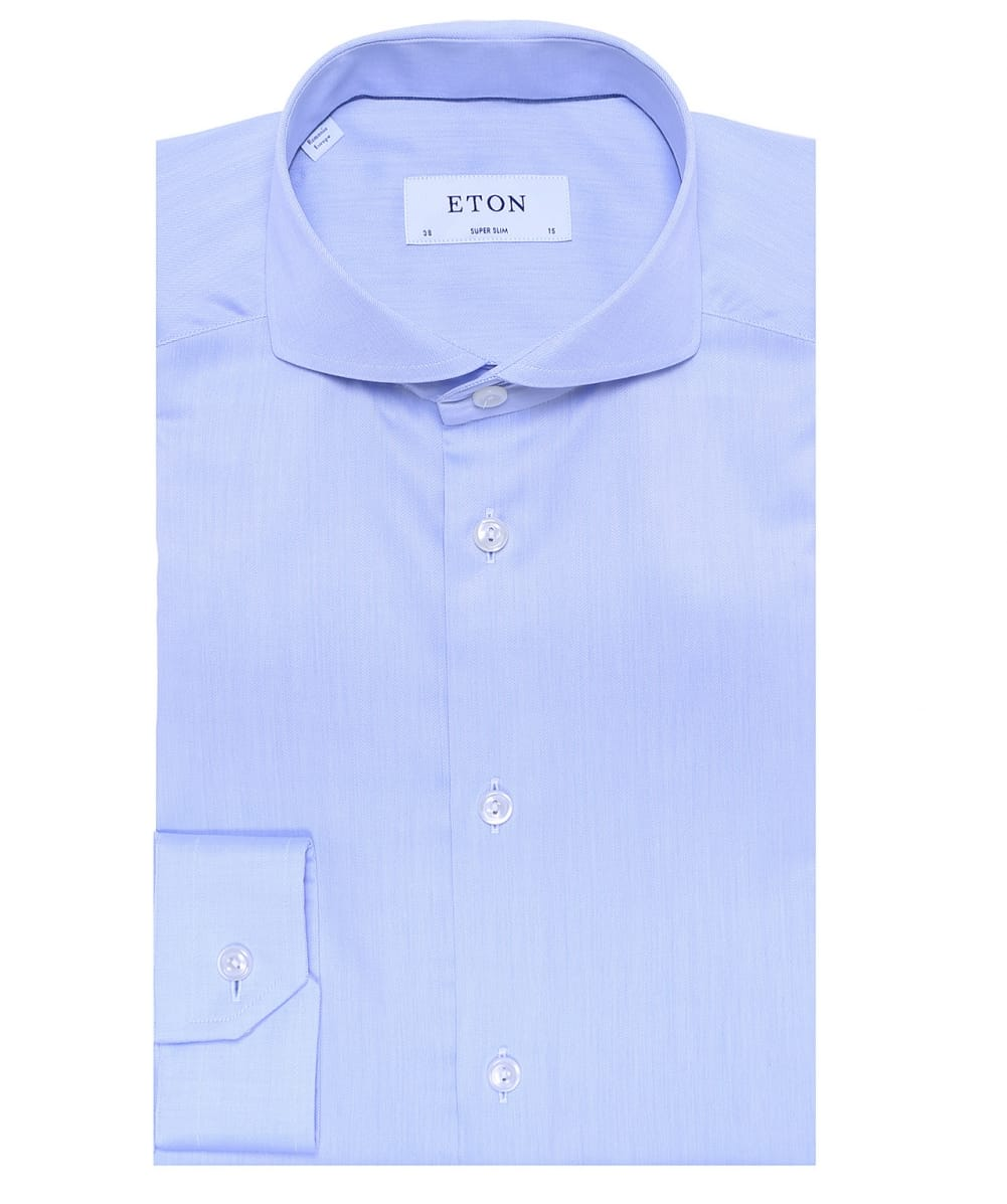 Eton Blue Super Slim Fit Cambridge Twill Shirt Jules B