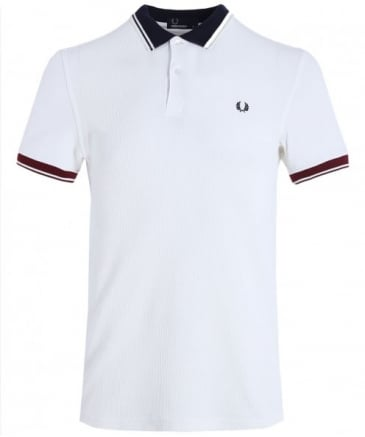 Ribbed Trim Pique Polo Shirt