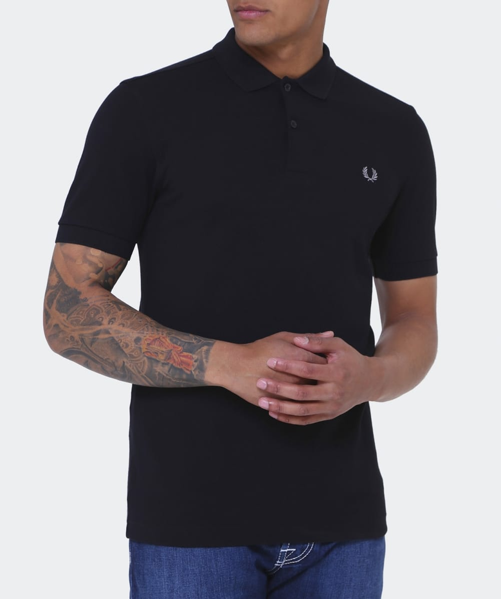 fred perry black slim fit plain polo shirt jules b. Black Bedroom Furniture Sets. Home Design Ideas