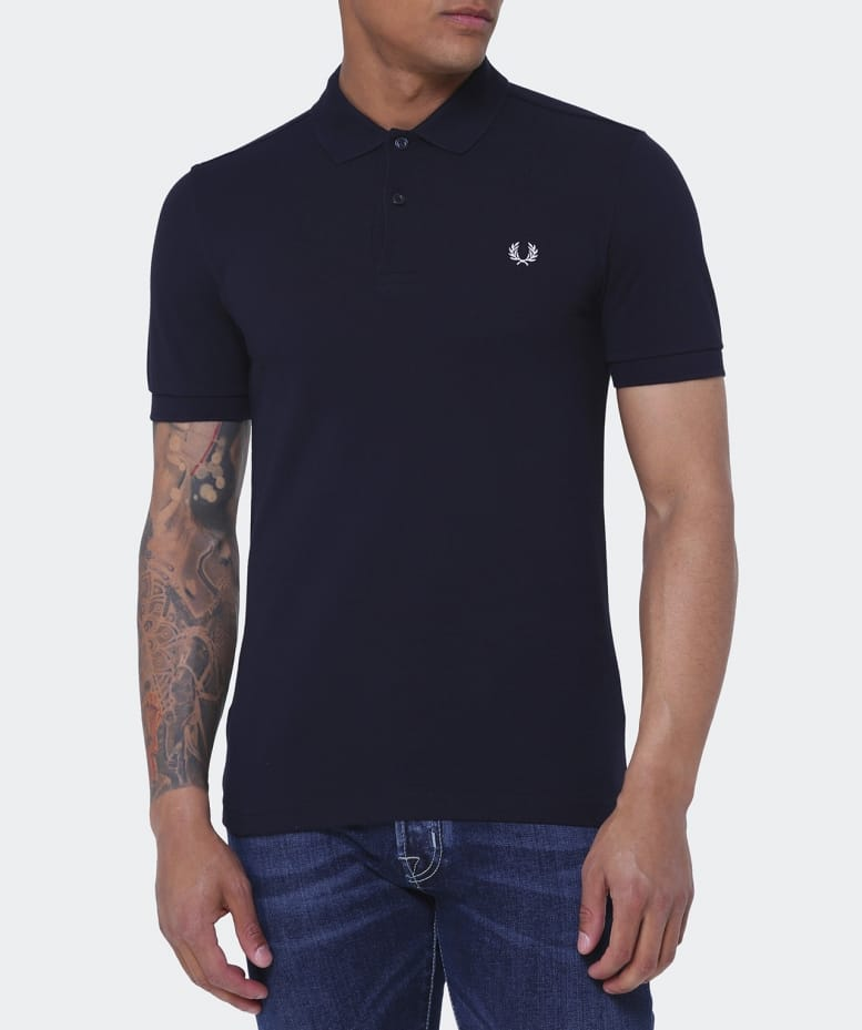 Fred perry navy slim fit plain polo shirt jules b for Slim fit collared shirts