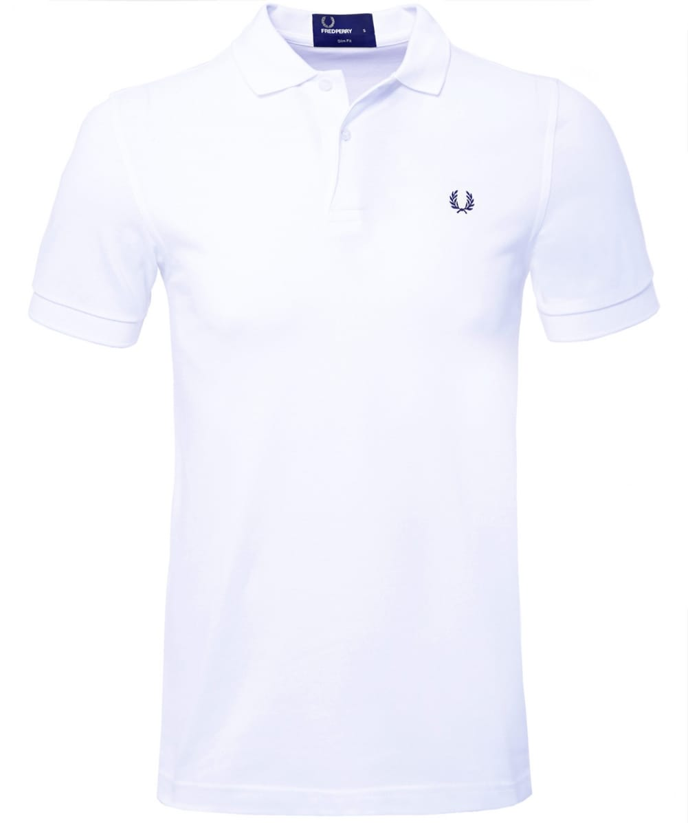 Fred perry white slim fit plain polo shirt jules b for White fitted polo shirts