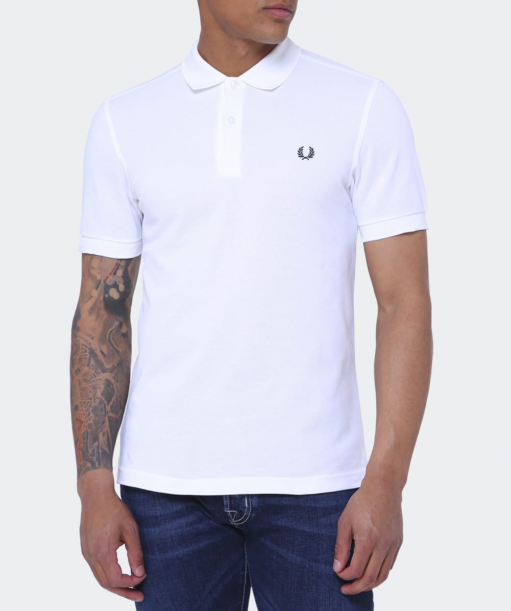 Fred perry white slim fit plain polo shirt jules b for Slim fit collared shirts