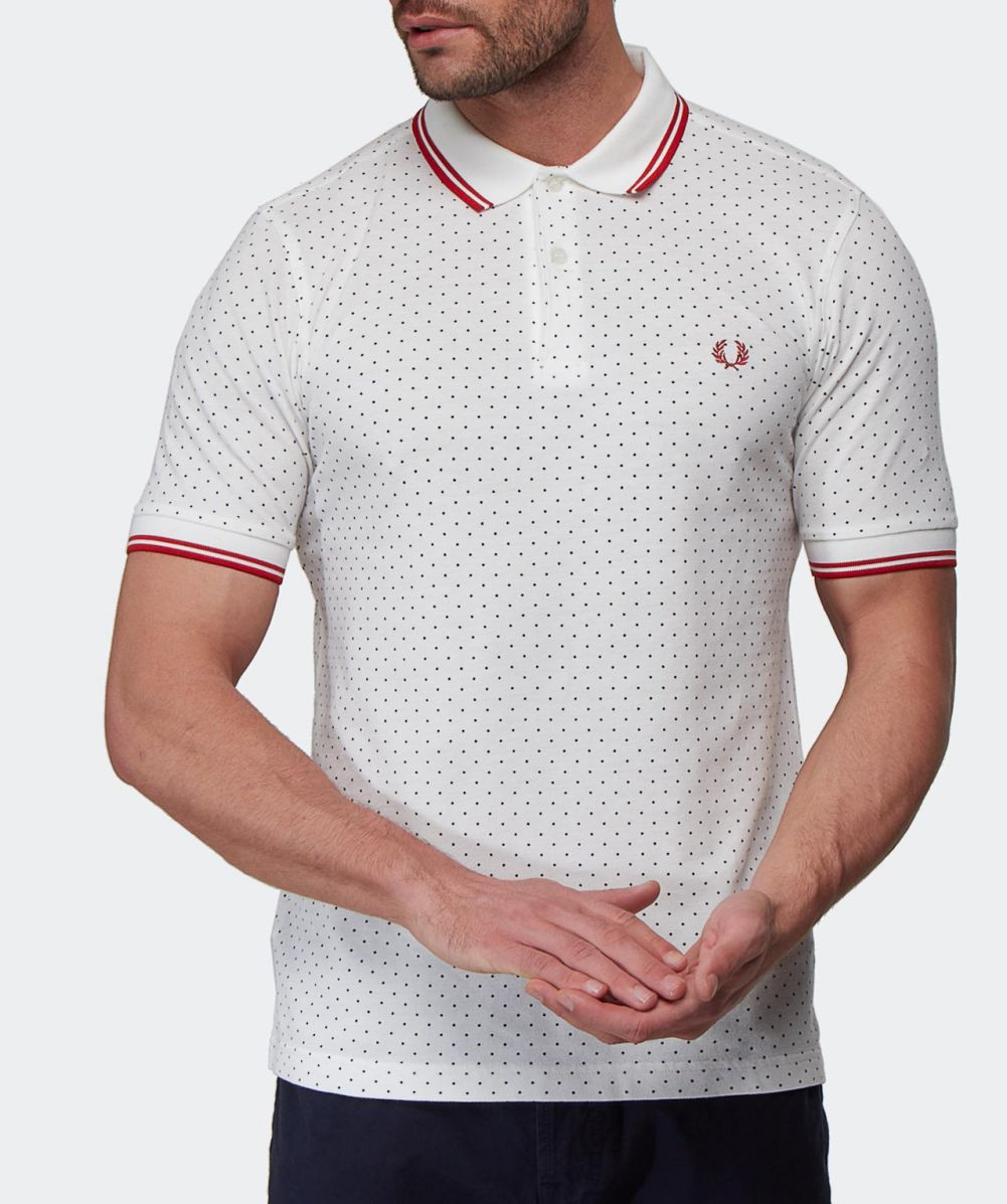 Fred perry slim fit polka dot polo shirt available at jules b for Slim fit polka dot shirt