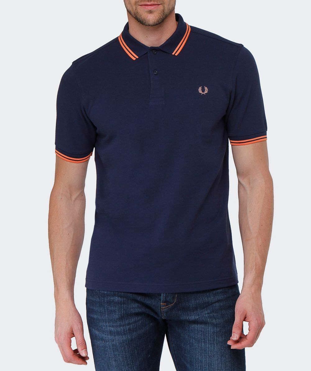 fred perry carbon blue slim fit twin tipped polo shirt. Black Bedroom Furniture Sets. Home Design Ideas