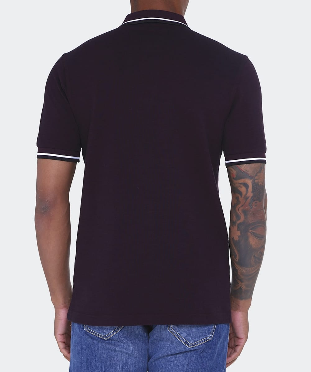Fred perry mahogany slim fit twin tipped polo shirt jules b for Slim fit collared shirts