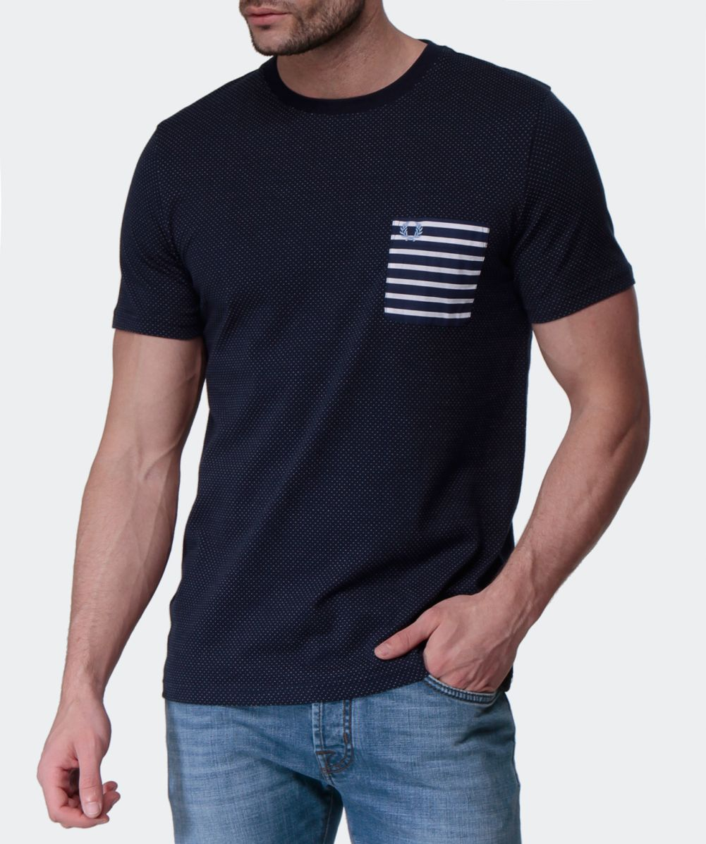Fred Perry Striped Pocket T Shirt Available At Jules B