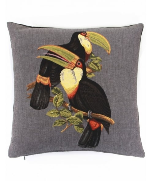 fs home collections grey toucan cushion available at jules b. Black Bedroom Furniture Sets. Home Design Ideas