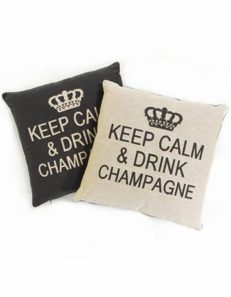 fs home collections keep calm drink champagne cushion set jules b. Black Bedroom Furniture Sets. Home Design Ideas