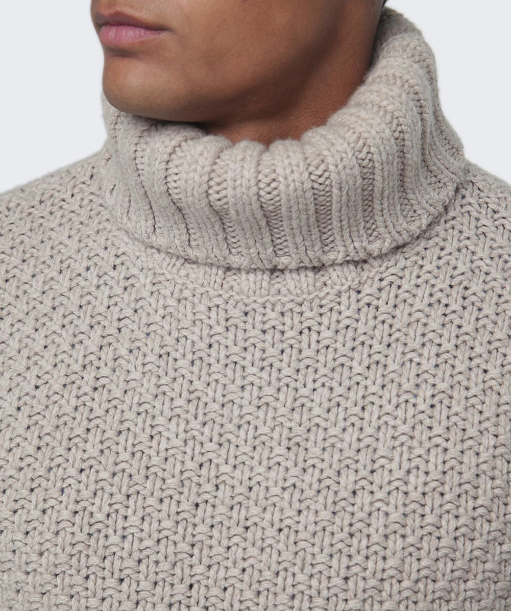 Gant Beige Chunky Basketknit Roll Neck Jumper available at Jules B