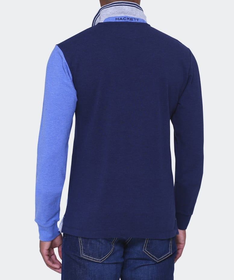 Hackett blue slim fit long sleeve polo shirt jules b for Slim fit collared shirts