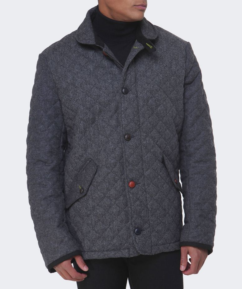 Holland Esquire Grey Quilted Wool Jacket Available At Jules B