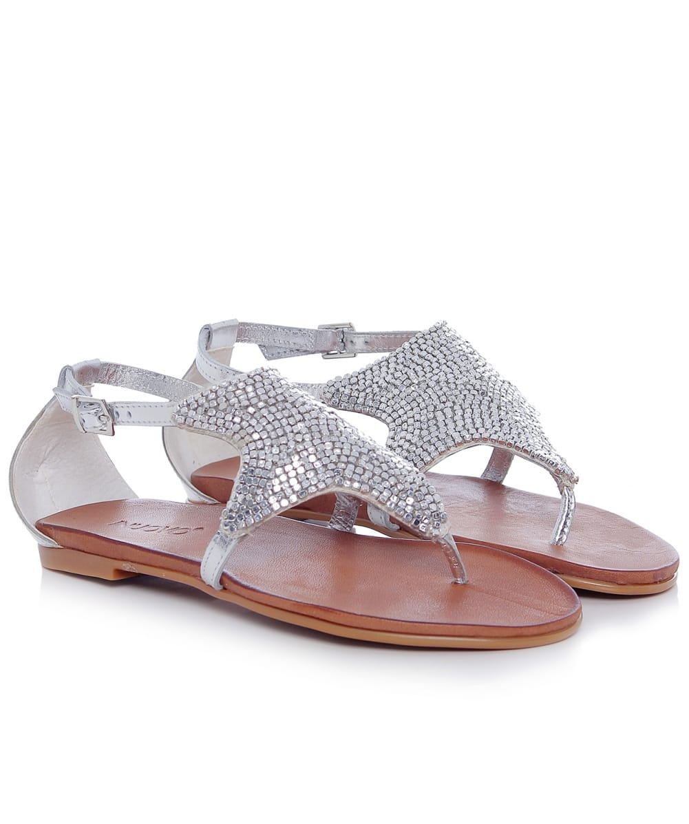 inuovo silver beaded starfish sandals jules b