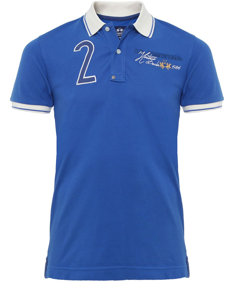 La martina contrast collar logo polo shirt available at for Polo shirts with logos