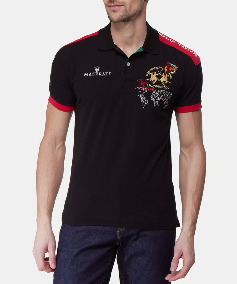 La martina slim fit maserati polo shirt available at jules b for Slim fit collared shirts