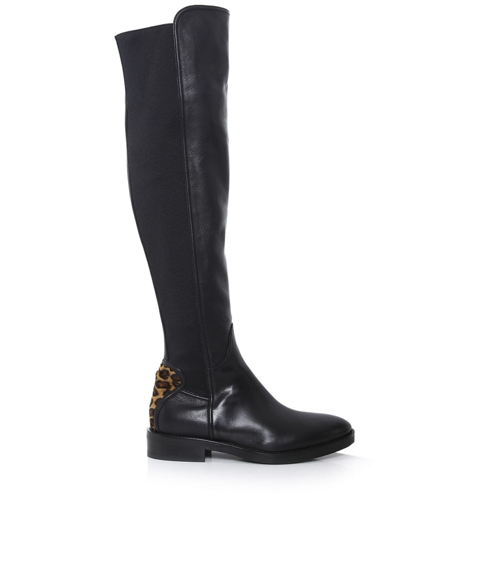le pepe black leopard knee high leather boots jules b
