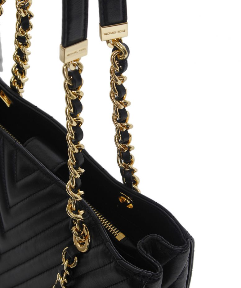 a58df69bc41804 michael kors susannah large quilted tote leather handbag black spring 2017  fashion show