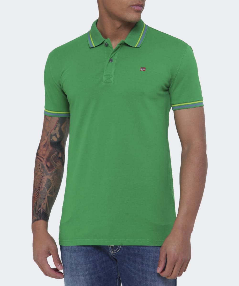 Napapijri green slim fit eldis polo shirt jules b for Slim fit collared shirts
