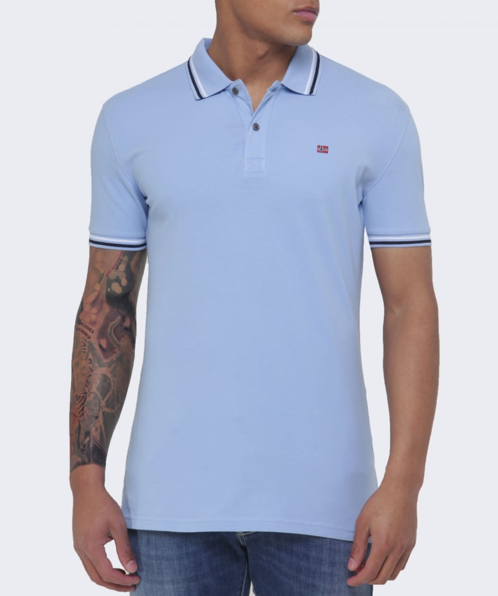 Napapijri blue slim fit eldis polo shirt jules b for Slim fit collared shirts