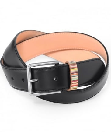 Leather Signature Stripe Keeper Belt