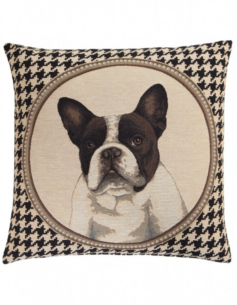 Fs Home Collection fs home collection   houndstooth bulldog cushion   jules b