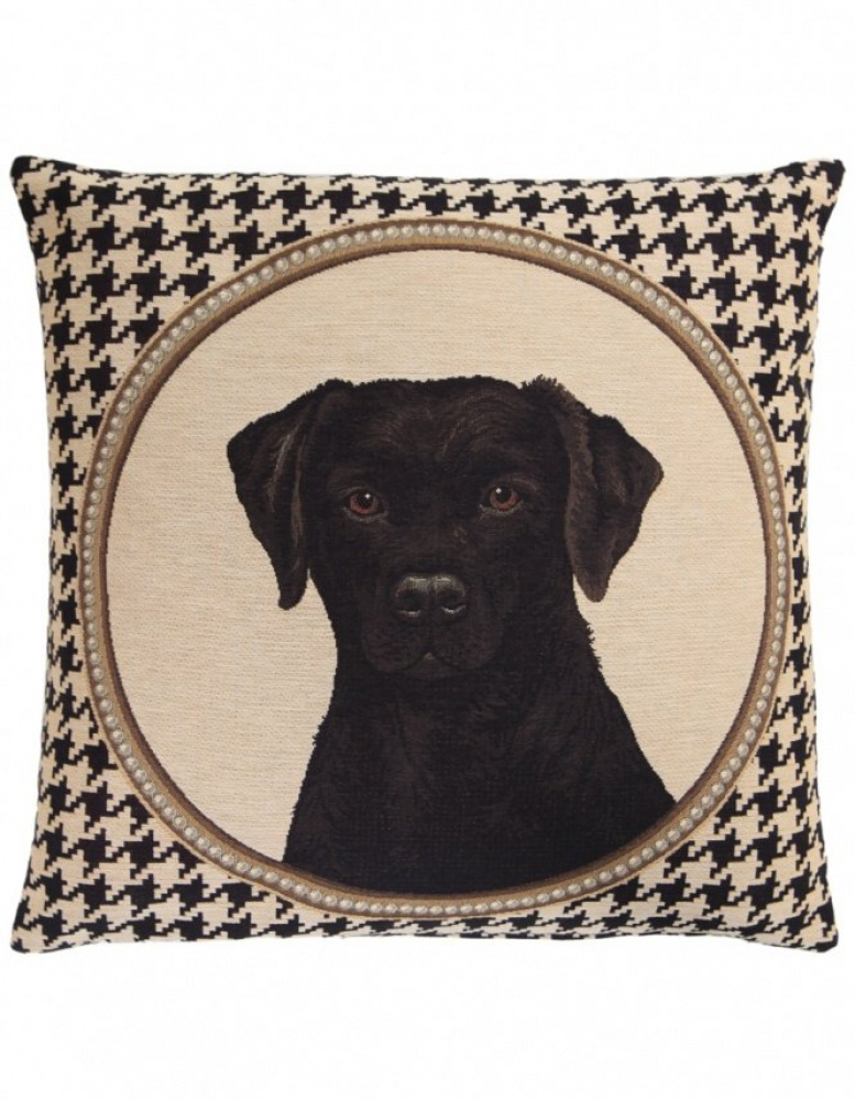Fs Home Collection fs home collection   houndstooth black labrador cushion   jules b