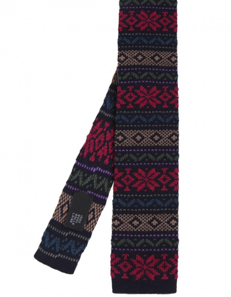 Ascot Knitted Wool Fair Isle Tie available at Jules B