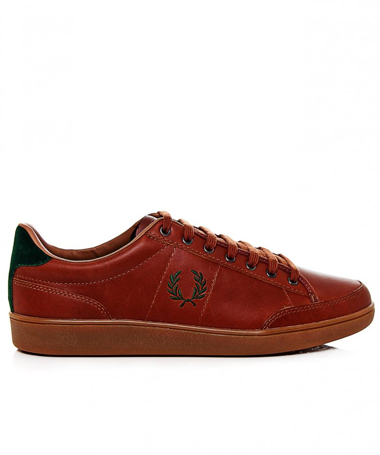 sports shoes online store wholesale price Fred Perry Light Brown Hopman Leather Trainers available at Jules B
