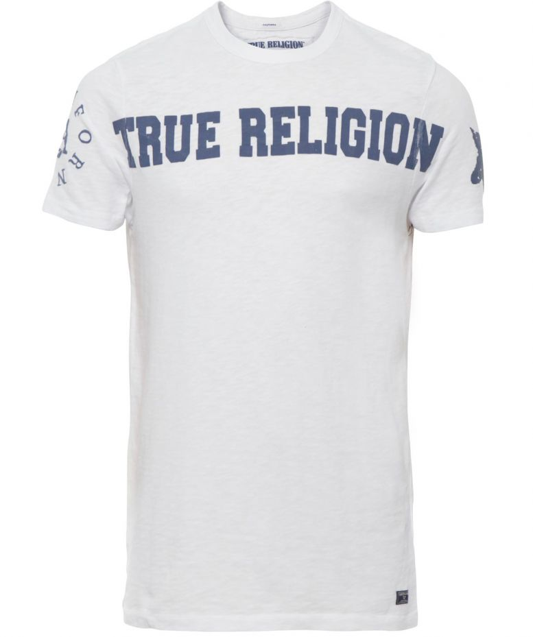 c9b890895 True Religion White Block Letter Logo T-Shirt available at Jules B