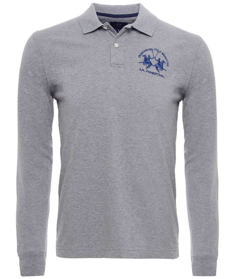 la martina logo long sleeve polo shirt available at jules b. Black Bedroom Furniture Sets. Home Design Ideas