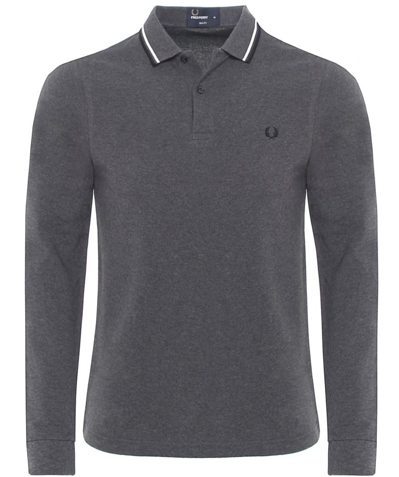 69c7b2f67 Fred Perry Graphite Long Sleeved Twin Tipped Polo available at Jules B