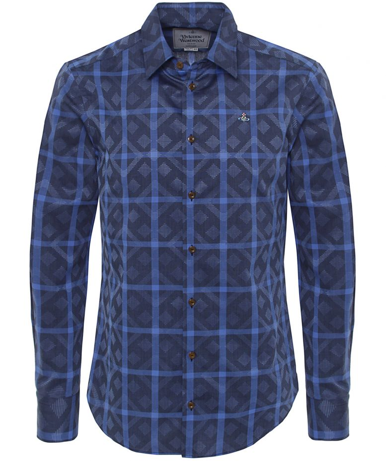 Vivienne westwood blue diamond print shirt available at for Diamond and silk t shirts