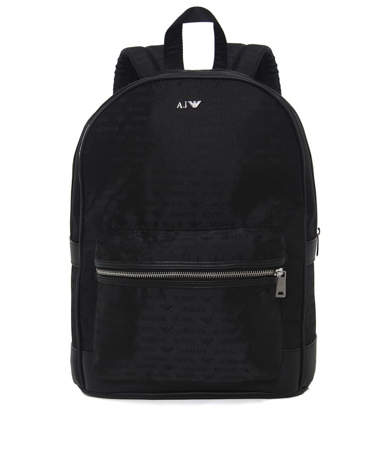 4ecf0ff5bdef Armani Jeans Black Faux Leather Logo Backpack