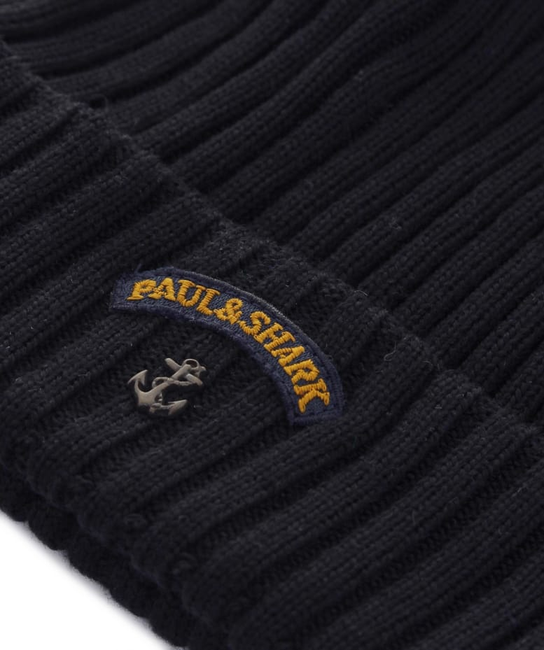 Paul and Shark Virgin Wool Beanie Hat  c9657c8e653