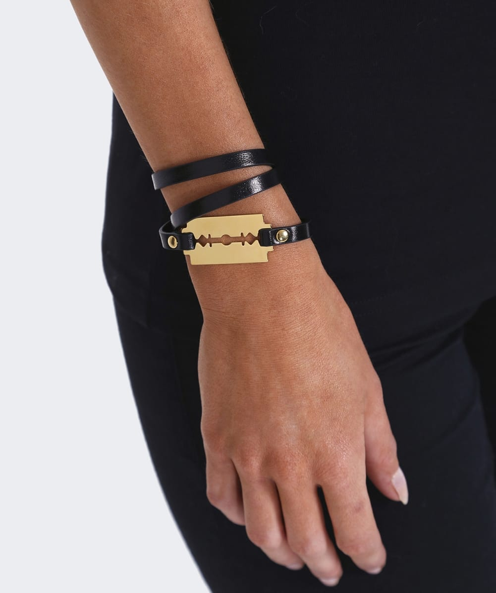 leather brass wrap blackshiny jewelry black bracelet gallery triple product normal tory burch lyst livia