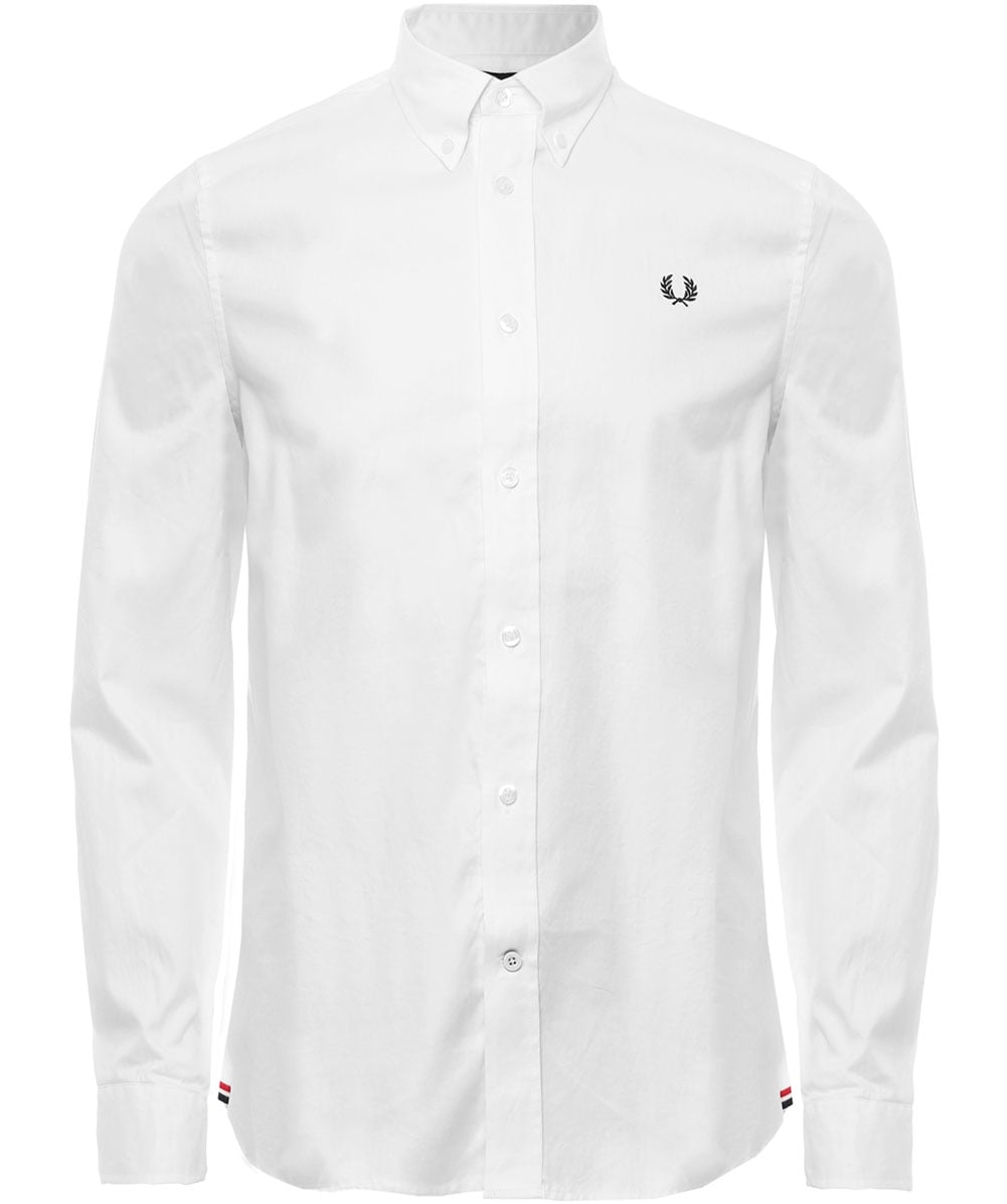Twill Shirt in White - 100 Fred Perry For Nice For Sale Discount Affordable S1FpUwMw