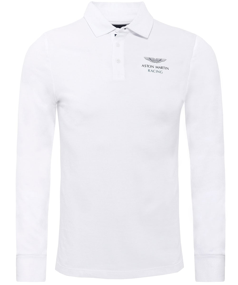 hackett white classic fit aston martin racing long sleeve polo shirt