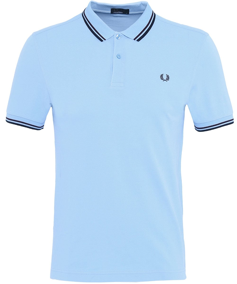 110cf6040f6 Fred Perry Light Blue Twin Tipped Polo Shirt M3600 E31
