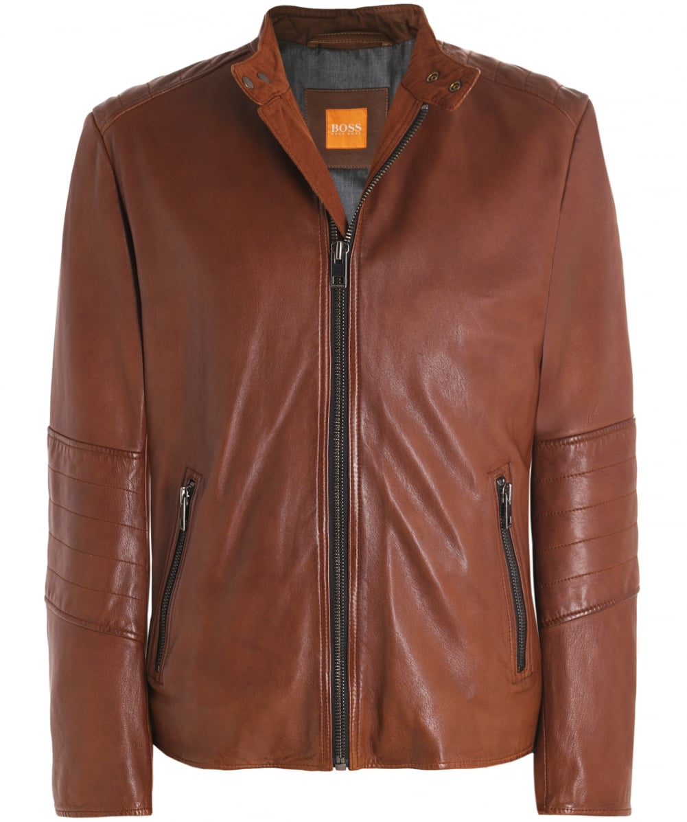 87f0edf2d4e BOSS Orange Leather Jeeper Jacket
