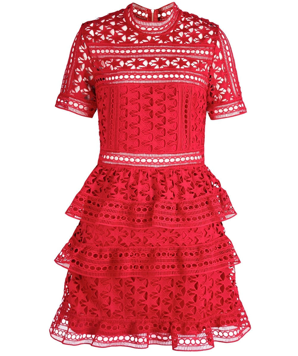 0ab62eb9a035 Self-Portrait Red Star Lace Panelled Dress