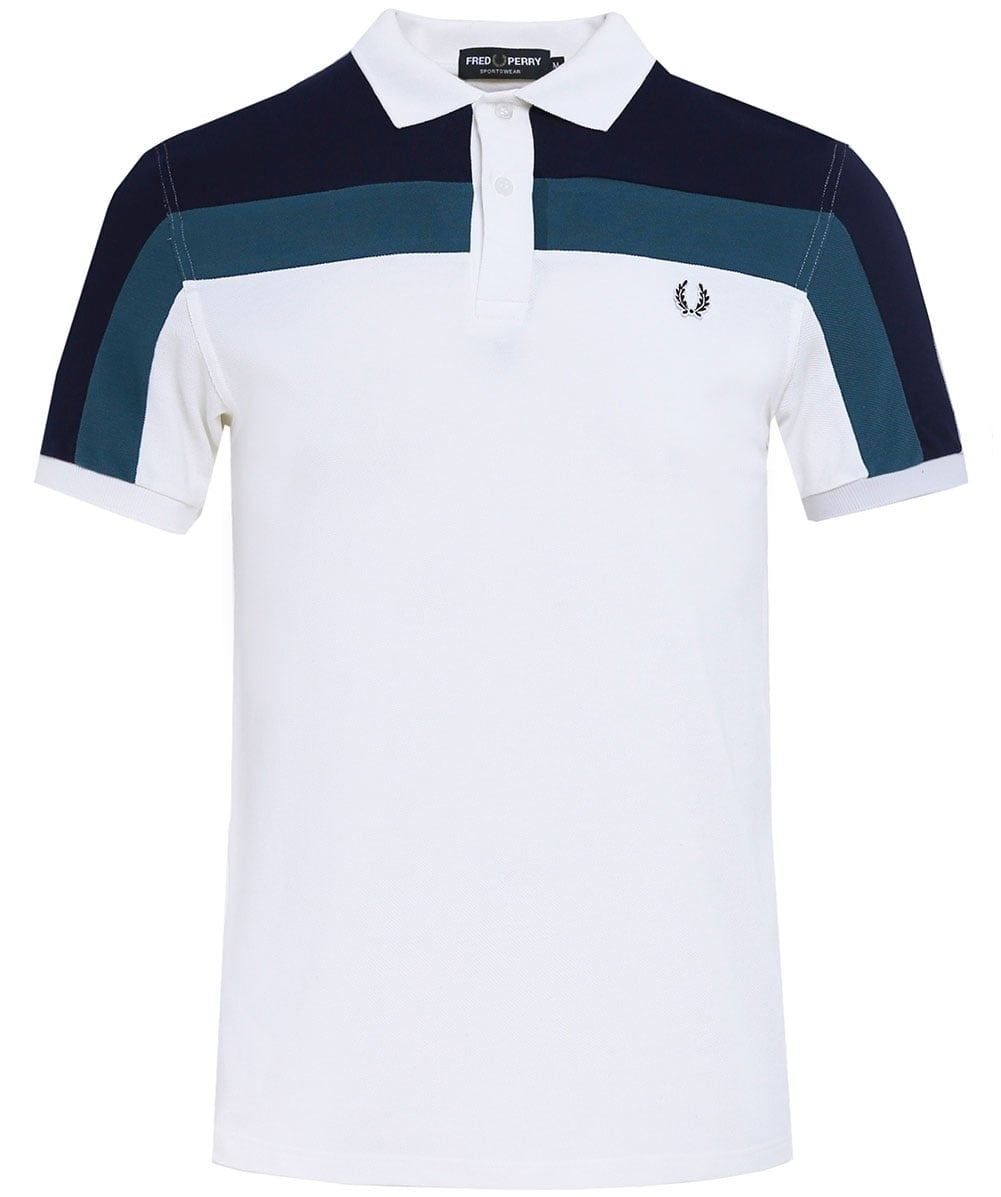 Fred perry snow white colour block polo shirt m2603 129 jules b colour block polo shirt geenschuldenfo Image collections
