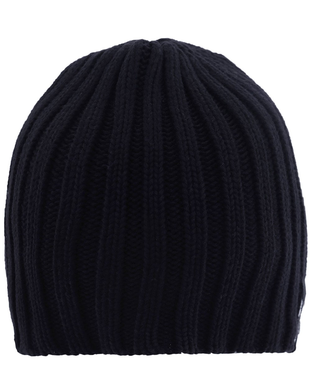 Schott Black Ribbed Beanie Hat  1b91f115b44
