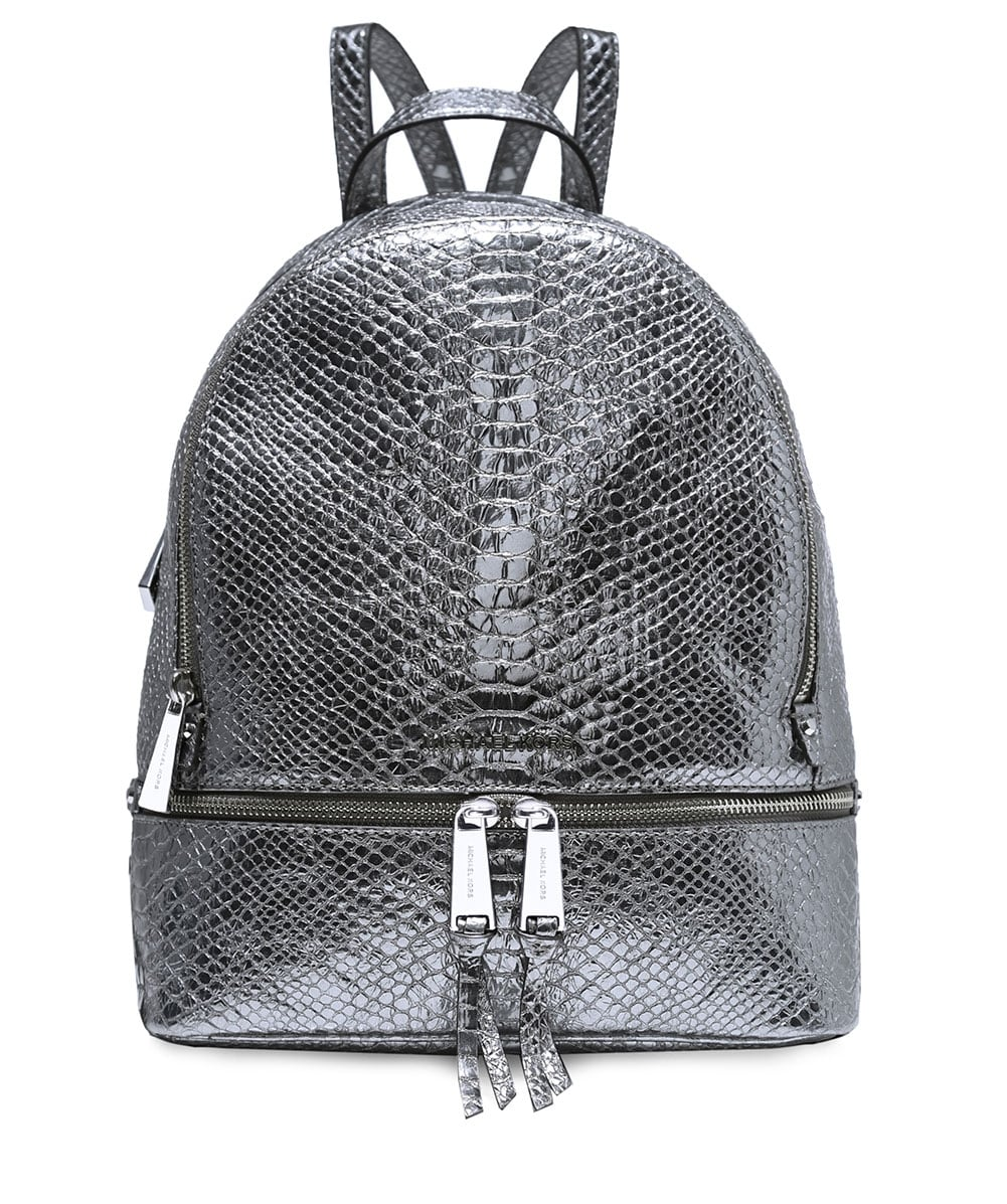 939bbb17fd11 ... free shipping michael michael kors metallic textured leather rhea  backpack 2b055 7ad95 ...