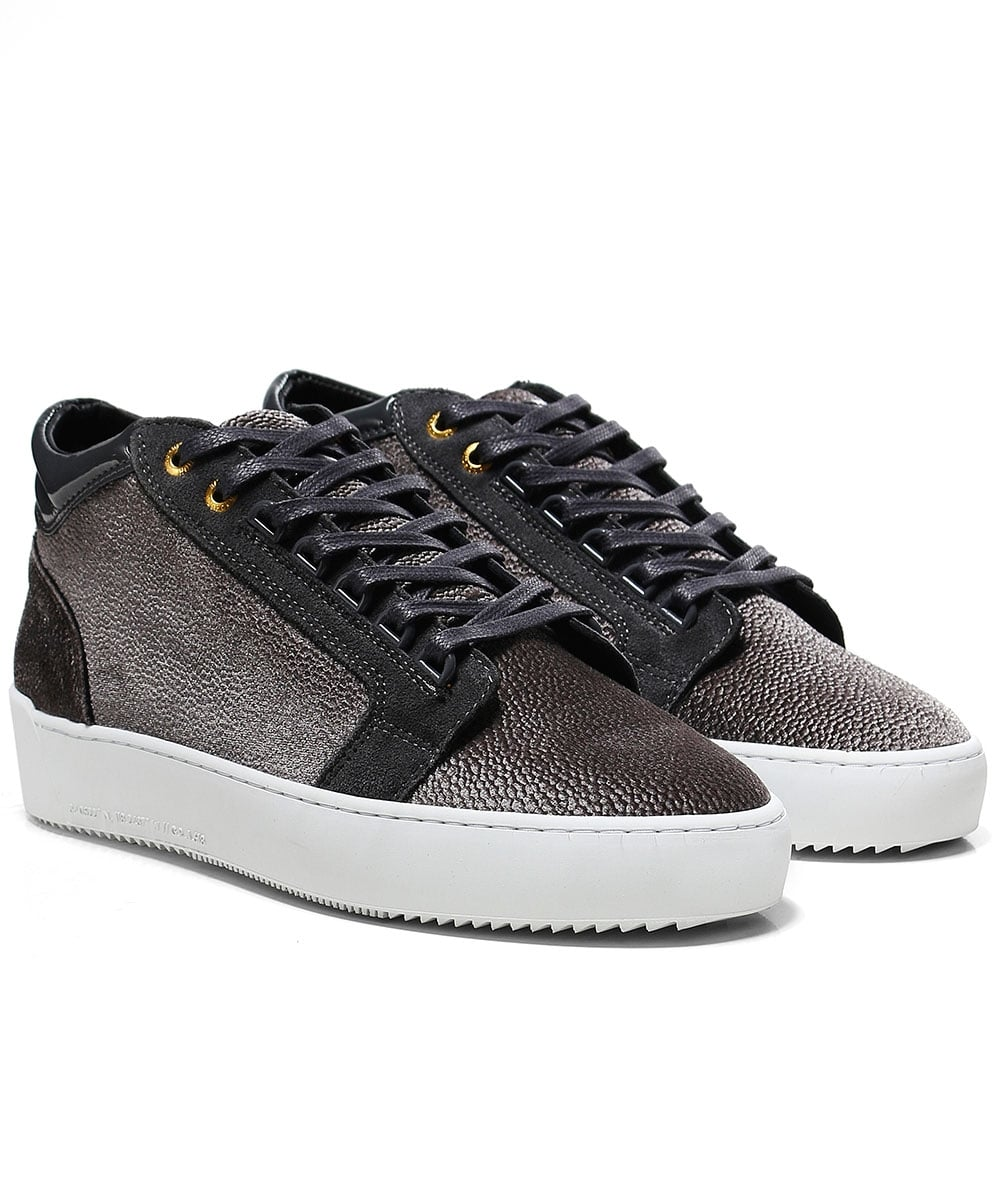 2eb40b487bc Android Homme Grey Mid-Top Stingray Velour Propulsion Trainers